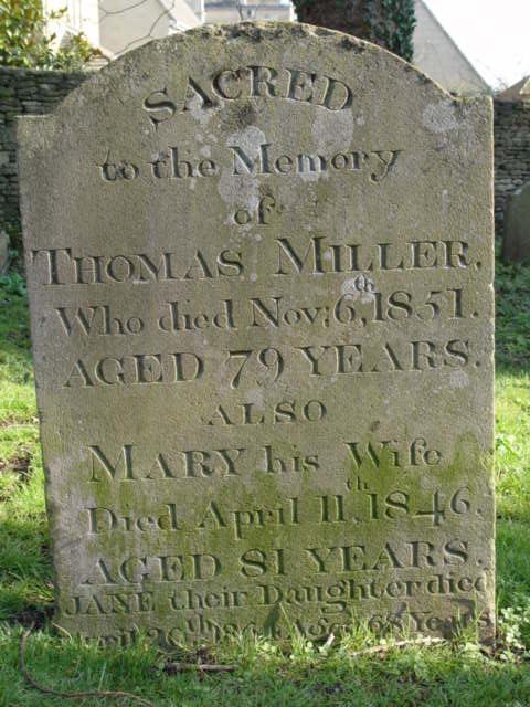 Miller family gravestone St Mary's Tetbury.