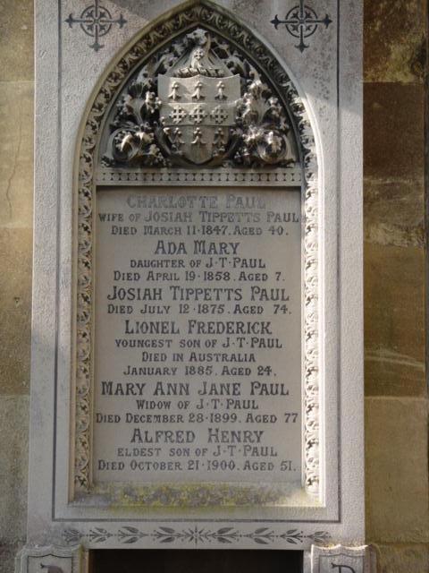 Paul family gravestone St Mary's Tetbury.