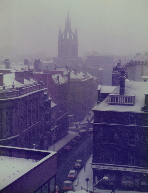 St Nicholas' Cathedral on a dull snowy day