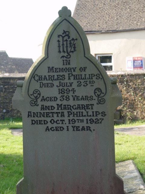 Phillips family gravestone St Mary's Tetbury.