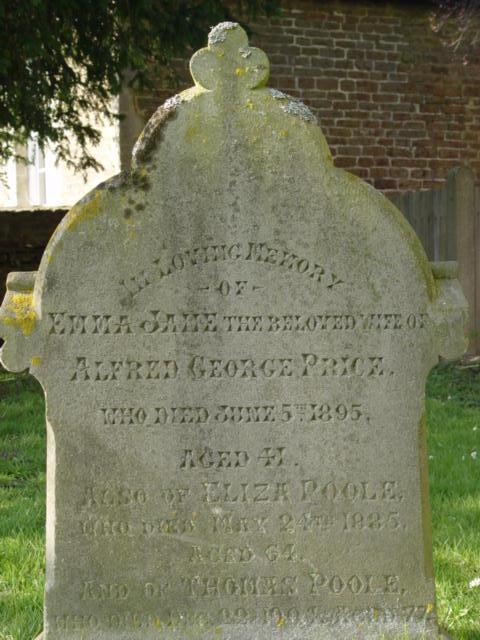 Emma Price gravestone St Mary's Tetbury.