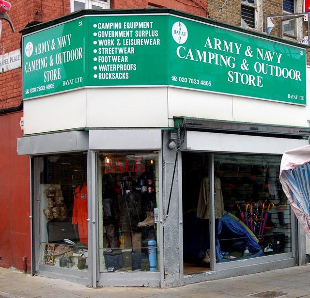 The Army & Navy shop on Chapel Street, Islington