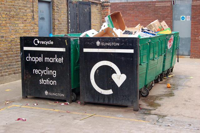 Recycling bins at Chapel Street market