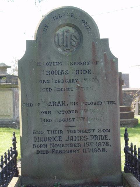 Pride family gravestone St Mary's Tetbury.