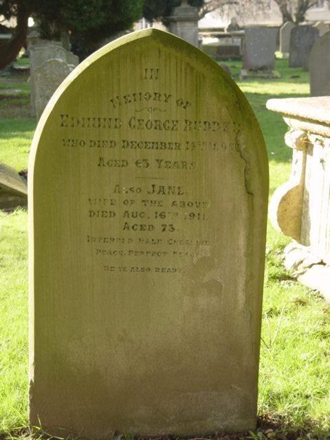 Rudder family gravestone St Mary's Tetbury.