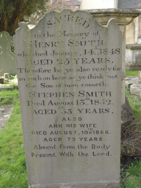 Smith family gravestone St Mary's Tetbury.
