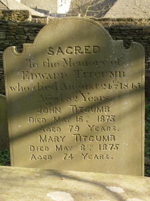 Titcumb gravestone St Mary's Tetbury.
