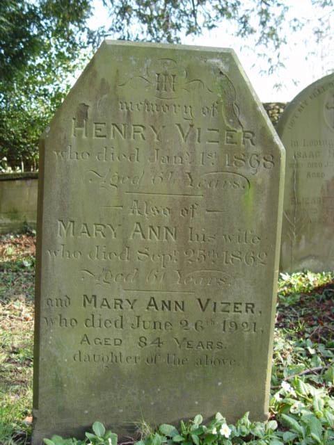 Vizer family gravestone St Mary's Tetbury.
