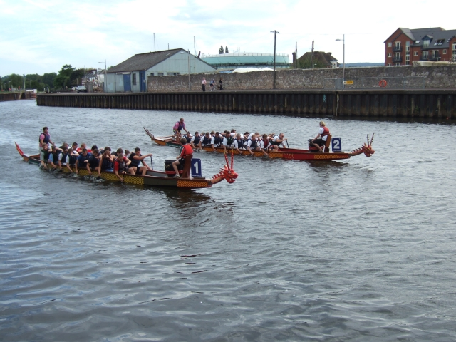 Dragon Boats racing on the River Exe
