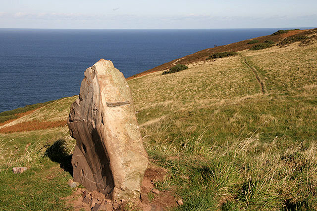 A standing stone by the path to Fast Castle