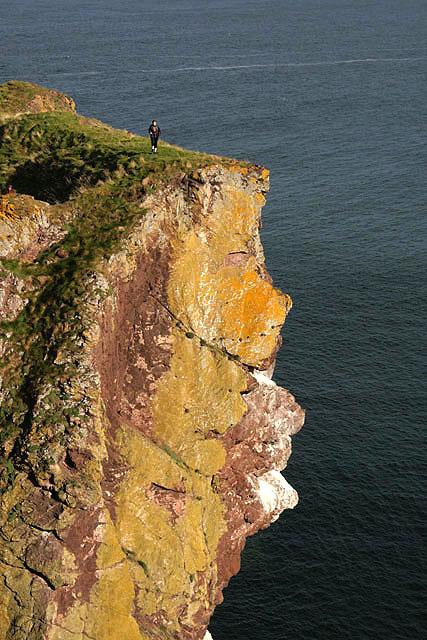 A walker on cliffs at White Heugh
