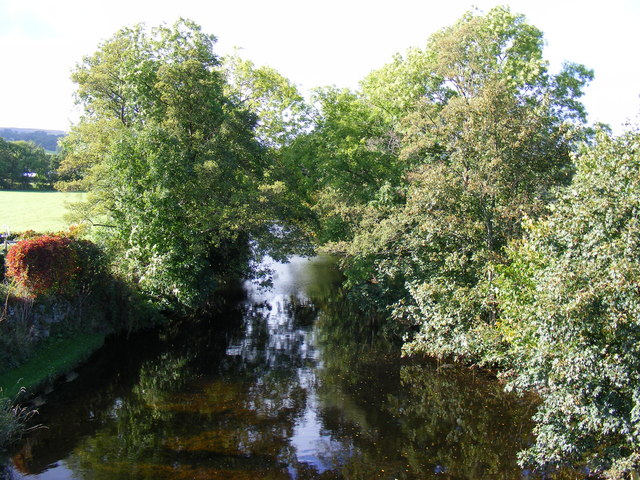 View of River Lowther from road bridge at Bampton Grange