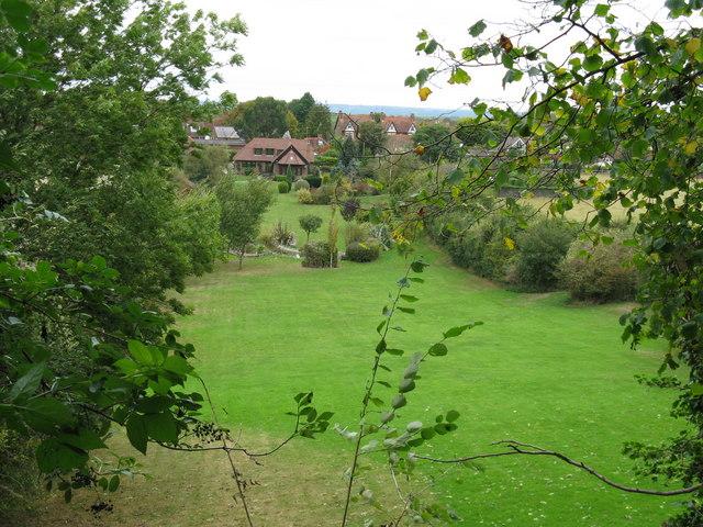 Long rear garden of house at Poynings