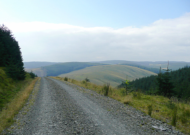 Forestry road and Elenydd landscape south of Moel Prysgau