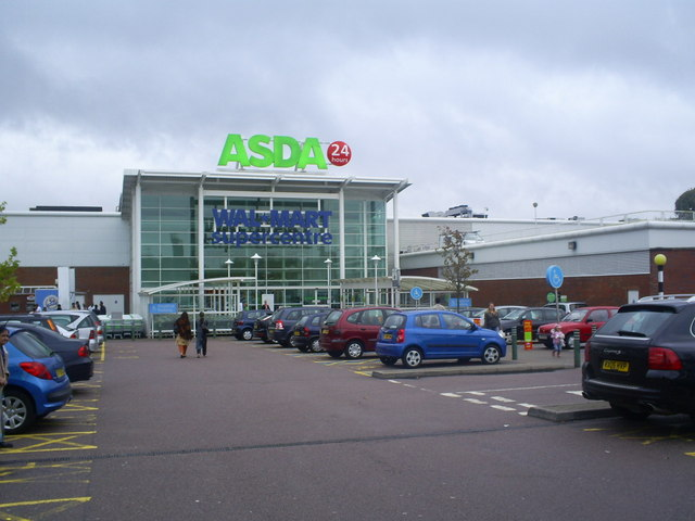 Main entrance to Asda / Walmart Hypermarket , Watford