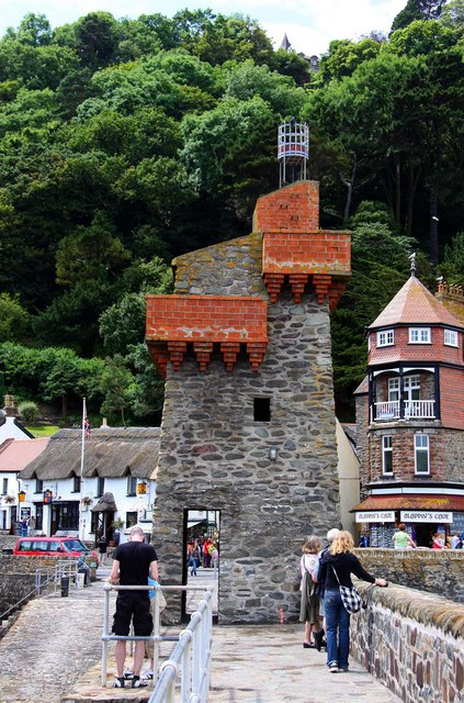 The Rhenish Tower on the harbour wall at Lynmouth