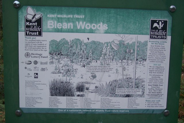 Close-up of  Blean Woods Information Board