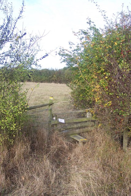Stile on footpath junction near Whitfield Farm