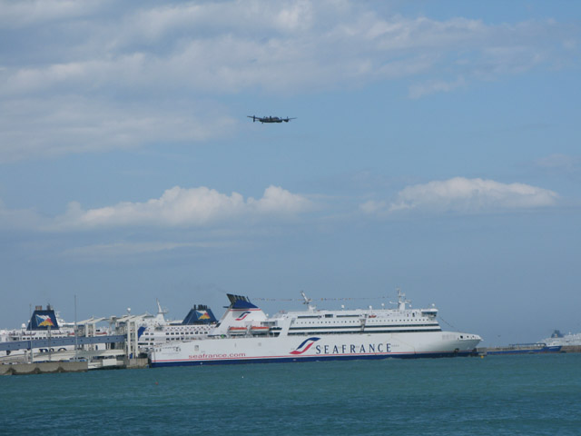 Lancaster bomber over Dover harbour