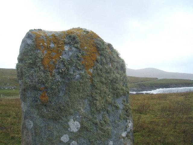 Standing stone with lichen