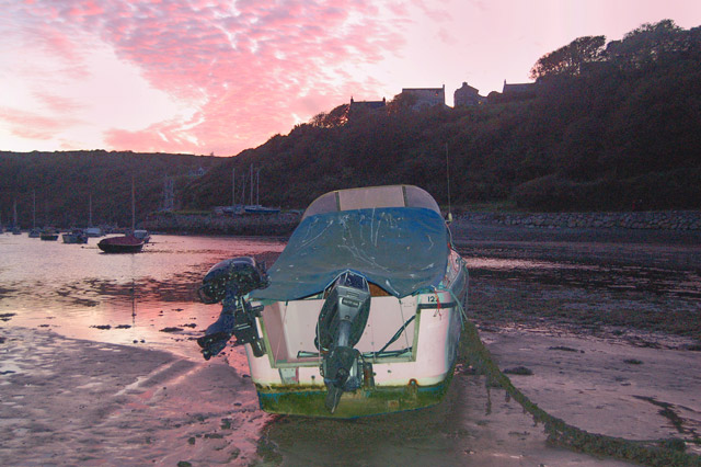 Boats in Solva harbour at dusk