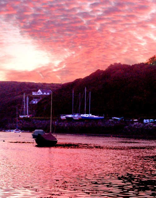Spectacular sunset over Solva harbour