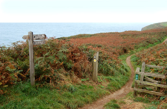 Coastpath signs and gate near St Nons Bay