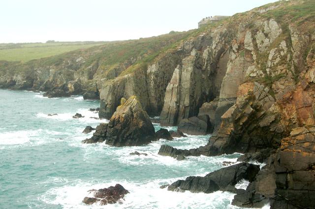 Cliffs west of Pen y Cyfrwy headland, St Nons Bay