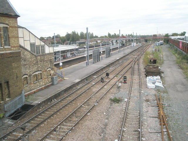 Looking from Southall Bridge onto the railway station