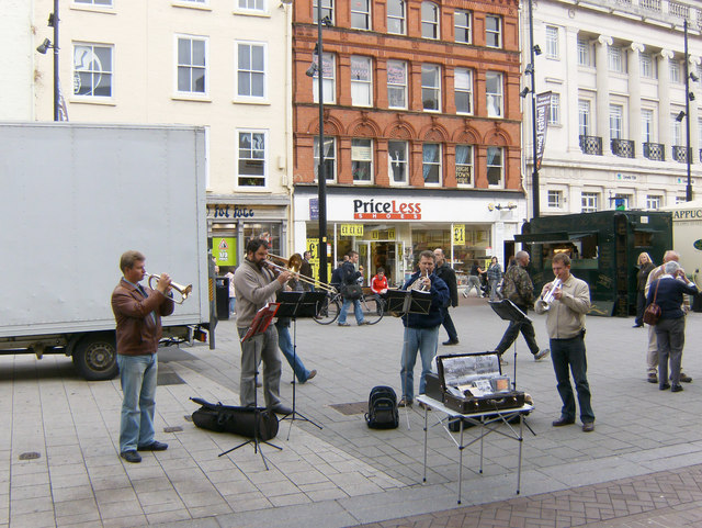 Eastern European buskers, High Town, Hereford