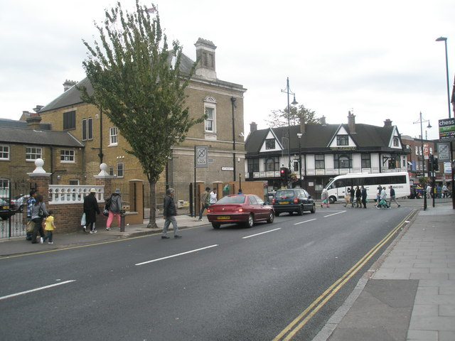 Looking southwards down Lady Margaret Road towards the crossroads