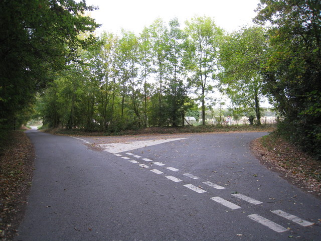 Two lanes meet in North Hampshire
