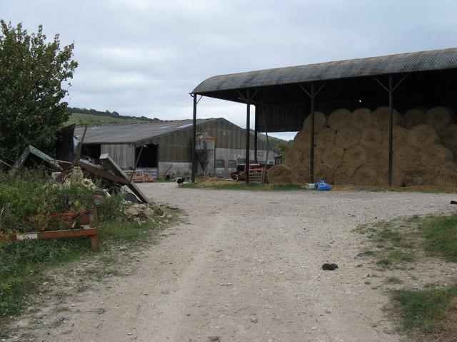 Hay bales in barn on Poynings Grange Farm