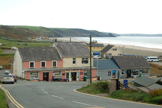 The A487 road approaching Newgale from the north
