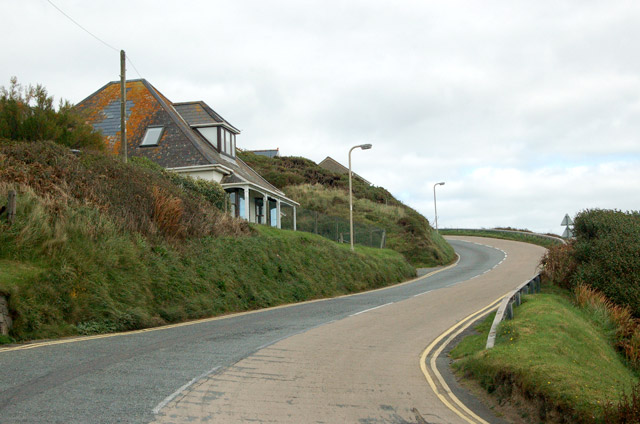 Looking north on the A487 up the hill out of Newgale