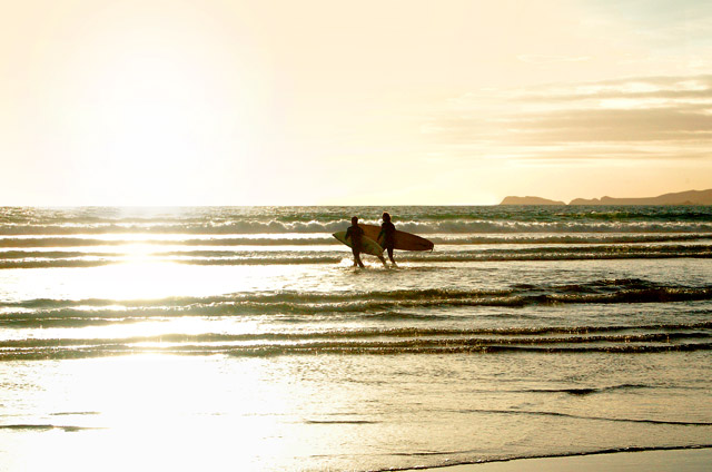 Sunset surfers at Newgale