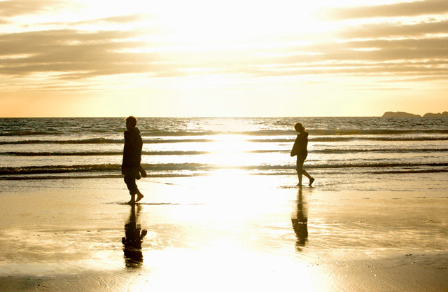 Sunset strollers at Newgale