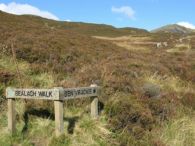 Signpost on Ben Vrackie path