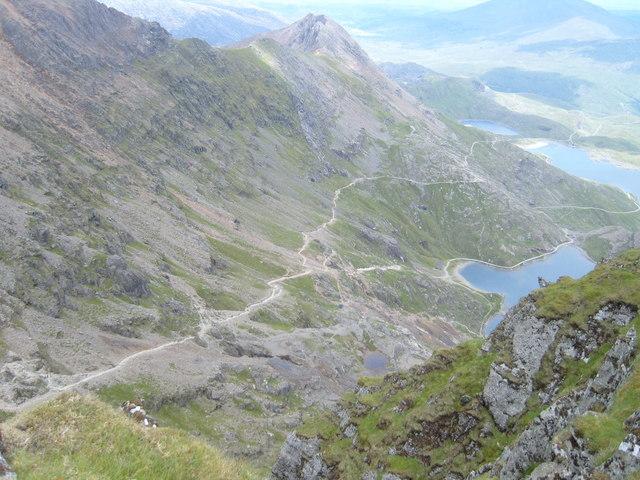 Crib Goch, Pyg track, Miners track, taken from Yr Wyddfa Snowdon