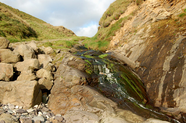 Waterfall onto beach at Pwll March, Newgale (1)