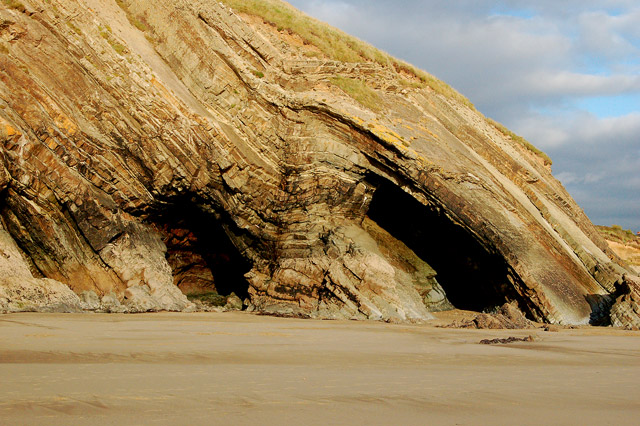 Folds and erosion in rock strata at Newgale beach