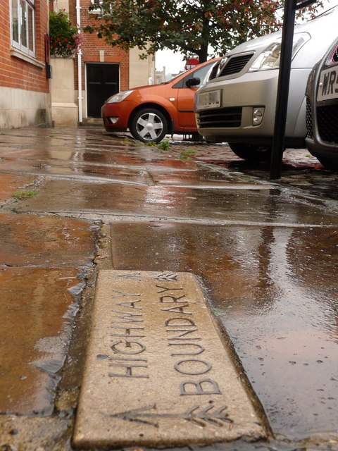 Highway Boundary Stone in the Market Place outside the old fire Station