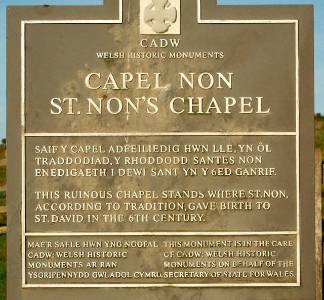 Sign at St Nons chapel