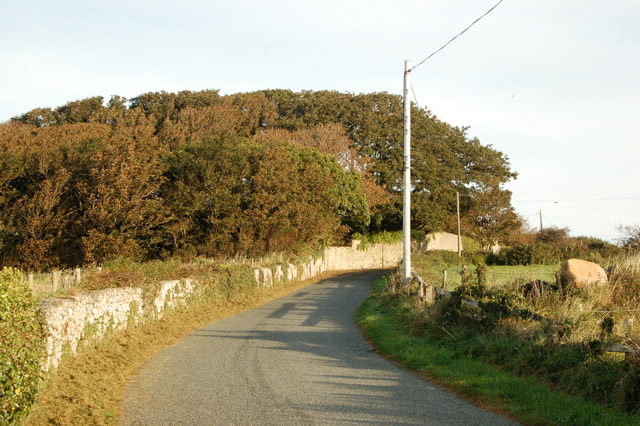 Looking north along the lane from St Nons Bay to St Davids