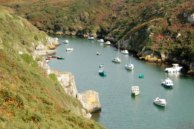 Boats moored in Porthclais harbour