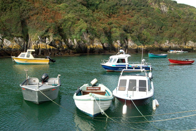Boats moored by the quay at Porthclais