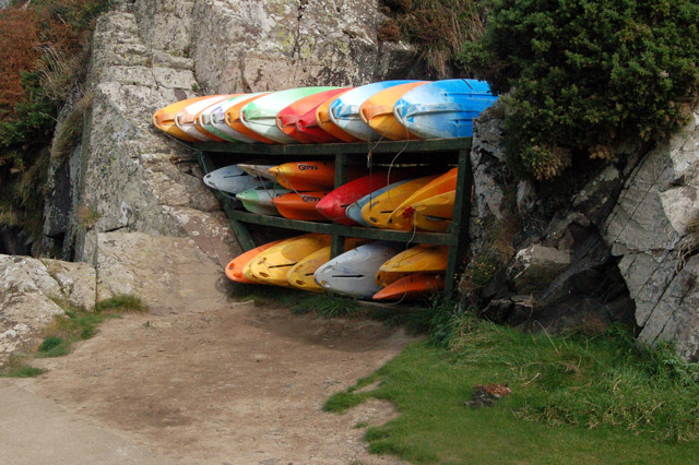 Canoes on the quay, Porthclais harbour