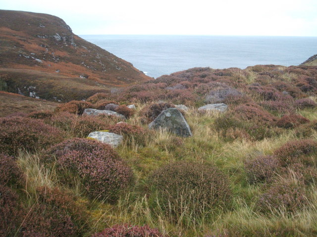 Heather, rocks and a view of the Minch
