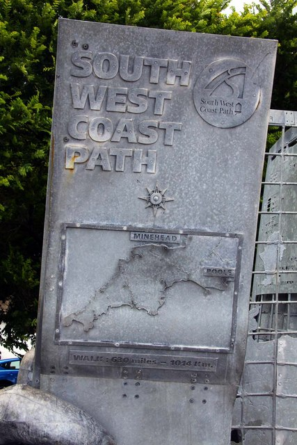 The South-West Coast Path monument in Minehead