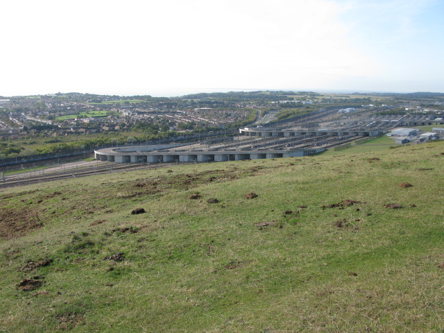 View of Channel Tunnel complex from Crete Road West